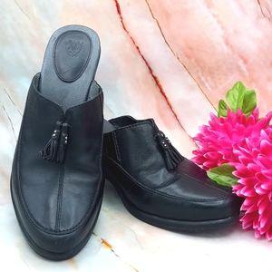 Ariat Leather Cowboy Mules Black SZ 9